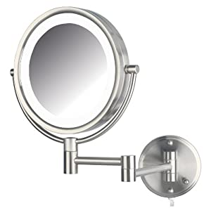Jerdon HL88NL Two-Sided Swivel LED Lighted Wall Mount Mirror with 8x Magnification Nickel Finish, Nickel, 8.5 Inch, 64.8 Ounce