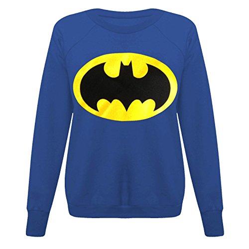 Pullover da donna Batman Felpa donna Superman supereroe Tops Pullover in pile taglia 810121416182022 Batman Royal Blue - Exercise Sweatshirt Running Ce