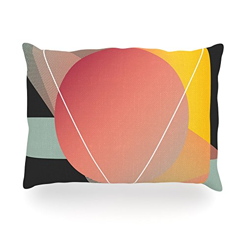 "Kess Inhouse Danny Ivan ""Objectum"" Pink Abstractoblong Rectangle Throw Pillow, 14 By 20-Inch front-996018"
