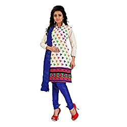 FabDesire Kashish Blue Cotton Embroidered Unstitched Dress Material