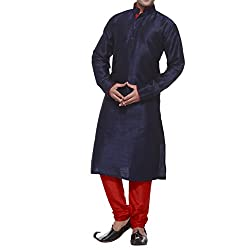 Mens Navy & Red Silk Blend Kurta Pyjama With Cotton Lining Inside