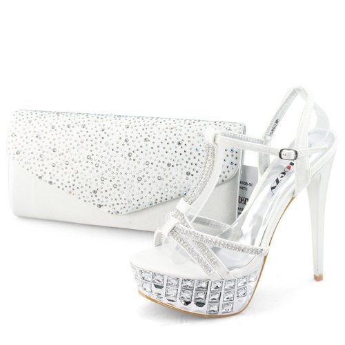 Shoezy Designer Women White Crystals Platform Prom Heels Shoes Matching Evening Bag Clutch