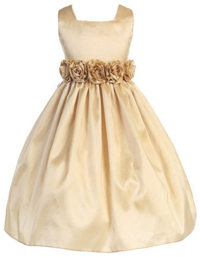 Sweet Kids Girls Slvless Dress Rolled Flw Waistband 3 Champagne (Sk 3047)