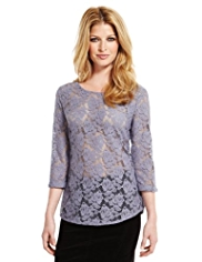 Indigo Collection Floral Lace T-Shirt