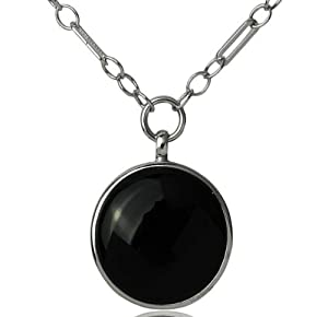 Sterling Silver and Round-Cut Black Onyx Chain Link Drop Art Deco Necklace