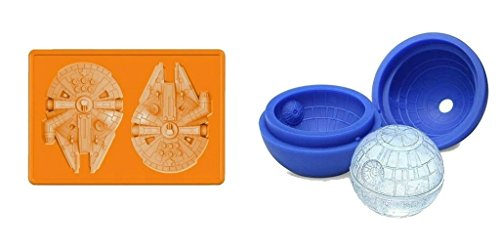 Star Wars Death Star and Millennium Falcon Silicone Ice Mold Trays (Candy Making, Decorating, Baking, Chocolate Making) Set of 2