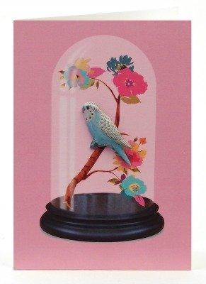 Petra Boase Bird Tin Badge Greeting Card - Pink Dome front-47283