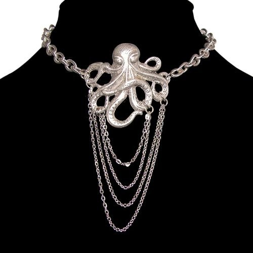 Nickel Free Octopus Choker with Dangling Chains In Burnished Silver