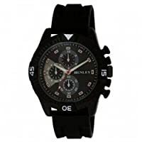 Henley Sports Watch Men's Quartz Watch with Black Dial Analogue Display and Black Silicone Strap H02059.3