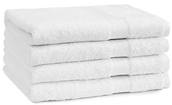 a lot de 4 4 serviettes de toilette premium couleur blanc qualit qualit 470g m 4. Black Bedroom Furniture Sets. Home Design Ideas