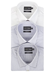 3 Pack 2in Longer Easy Care Plain & Striped Shirts