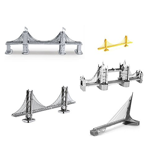 Set of 5 Metal Earth 3D Laser Cut Bridge Models Brooklyn Bridge - Sundial Bridge - Gold Rare Earth Golden Gate Bridge - Silver Golden Gate Bridge - London Tower Bridge