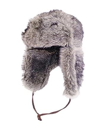 Unisex Luxury Faux Fur Russian style trapper hat. Blk/Grey 59