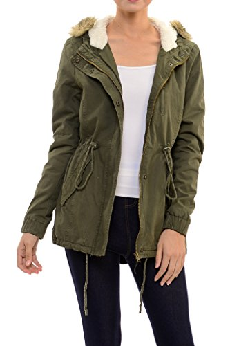 Womens Faux Fur Hoodie Sherpa Lined Military Safari Utility Fashion Parka Jacket Olive Green L