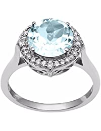 Shine Jewel 925 Silver Round Cut Blue Topaz Engagement Ring