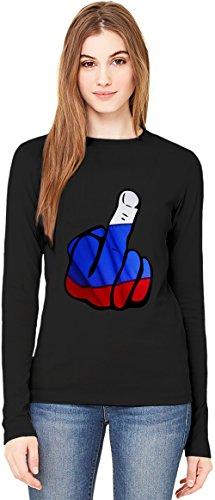 Russia Fuck You T-Shirt da Donna a Maniche Lunghe Long-Sleeve T-shirt For Women| 100% Premium Cotton| DTG Printing| Large