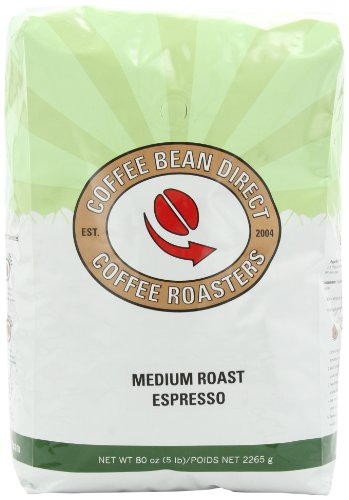 Coffee Bean Direct Medium Roast Espresso, Whole Bean Coffee, 5-Pound Bag