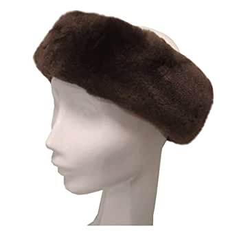 Crown Cap Sheared Beaver Headband - Real Beaver Fur - Brown - One Size