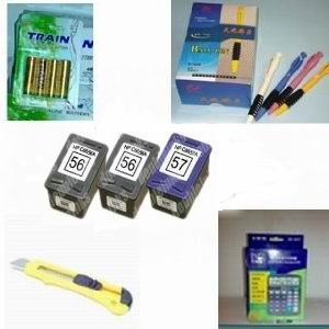 A great deal 3-pk HP 56 & HP 57 Remanufactured Combo Set - 2 Black HP 56 (C6656AN) and 1 Tri-Color HP 57 (C6657AN) compatible ink cartridges + 12 digit calculator + 5 ball pen + cutter, snap off, + 4-pk AA batteries, great Value........!!!!...