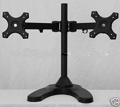 Dual Freestanding Monitor Stand holds monitors up to 24