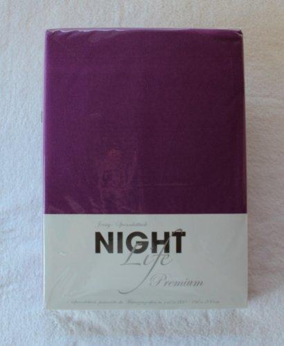 NightLife Jersey Spannbettlaken Farbe dunkle beere lila Größe 180 x 190 bis 200 x 200 cm Spannbettuch Spannlaken mit Rundumgummi 100% Baumwolle