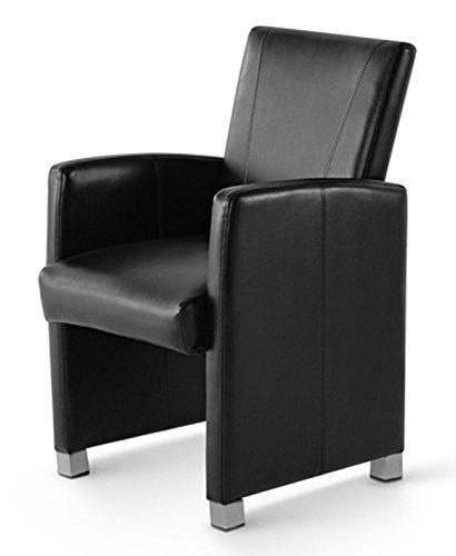 SAM® Esszimmer Armlehnstuhl Sessel Moritz in schwarz Füße in edelstahlfarben Lehnstuhl angenehme Polsterung pflegeleicht Esszimmerstuhl teilzerlegt Lager Paketdienst Versand