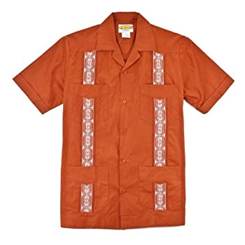 Burnt Orange, Texas Guayabera 100% Cotton by LocoStyle