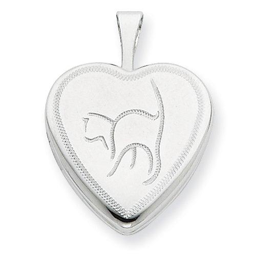 Sterling Silver 16mm Cat Heart Locket