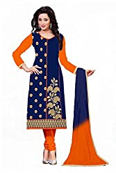 Special Navy Blue Casual Wear Designer Cotton Salwar Suit
