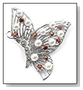 Sterling Silver Pearl and Garnet Butterfly Pin Brooch