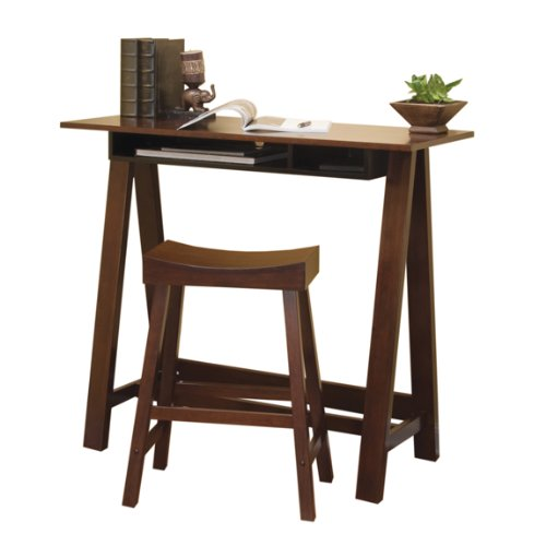 Home Office Desks: Tall Trestle Desk with Stool - Dark Wood Finish