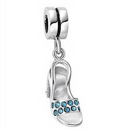 Beads Hut - Tribe Sterling Silver Crysyal Gem Shoe Cinderella European Bead Fit Charm Bracelet