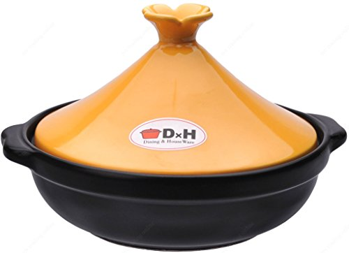 M.V. Trading 303001 Tagine Cooking for Cooktop or Oven, 1 Quarts (1000ml), 6 Inches (15 cm), Yellow Lid
