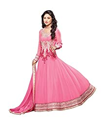 Decent World Pink Georgette Bridal Dress Material