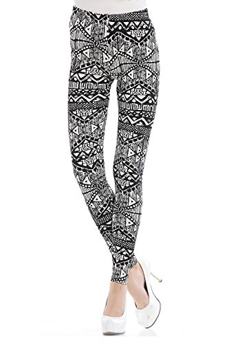 Osa Women Fashion Printed All Seasons Casualstretch Seamless Printed Pattern Leggings Pants Size Xl Black