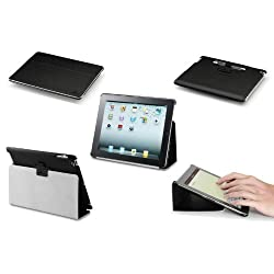 Acase iPad 2 & iPad 3 Case - The New iPad 3rd Generation Leather Case Cover Concept Hard Shell Case Folio with Flip Stand Auto Sleep and Awake Stylus Holder and Premium Micro Fiber Interior (BLACK)