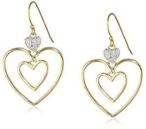 18k Yellow Gold Plated Sterling Silver Diamond Accent Triple Heart Earrings