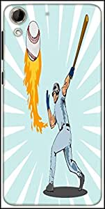 Snoogg Baseball Player Batting Ball Flames Designer Protective Back Case Cover For HTC Desire 728