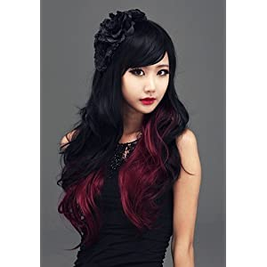 HI GIRL Synthetic Women Curly Wavy Black with Wine Cosplay Party Long Hair Full Wig by costume wig