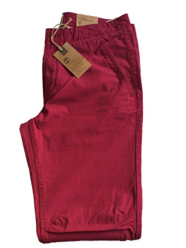 New Timberland ECHO LAKE Canvas Beet Red Skinny Fit Zip Fly Men's Chino Jeans W 40 - L 34