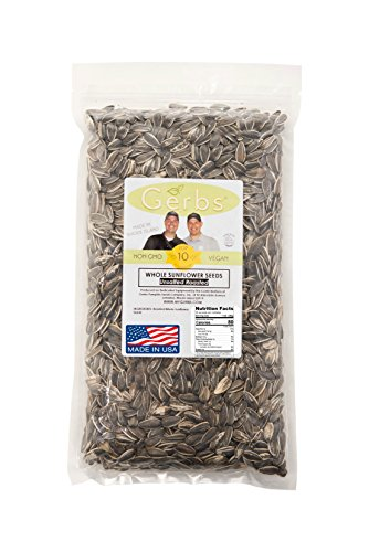 Dry Roasted & Unsalted Whole Sunflower Seeds by GERBS - 2LB. Deal. NON GMO - Certified Top 10 Allergen Free - Country of Origin USA (Sunflower Seeds Gerbs compare prices)