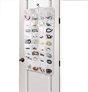 Hanging Jewellery Beauty Storage Tidy Organiser Double Sided 72 Clear Pockets
