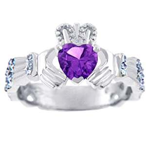 18K White Gold 0.4 Ct Diamond Claddagh Ring With Amethyst