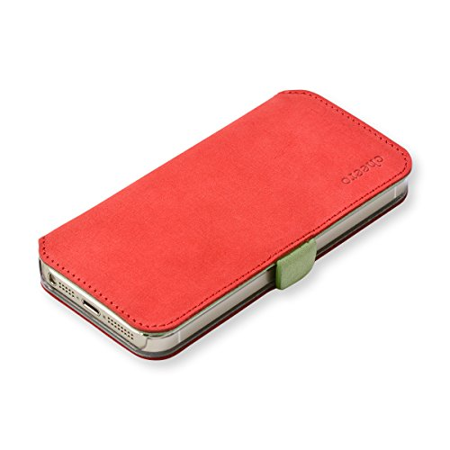 cheero Leather Case iPhone5/5s (Book type) -本革(牛)- (iPhone5/5s, ヌバック レッド&イエローグリーン)
