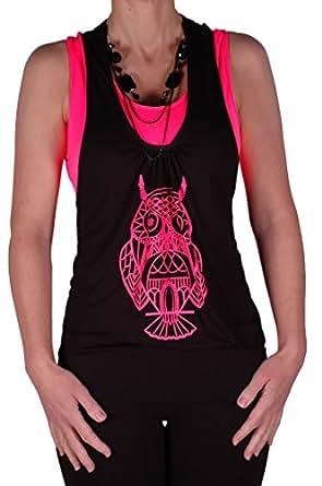Womens Owl Graphic Print Neon Fashion Beaded Ladies Club Top Black & Fushia S/M