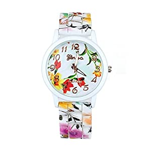 1PC Fashion Women Flower Printed Casual Quartz Silicone Watch Watches