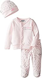 Kushies Baby-Girls Newborn Take Me Home Set Pink Solid Print Pant