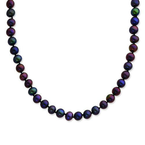 Silver 6-7mm Black Freshwater Cultured Pearl Necklace. 24in long Necklace.