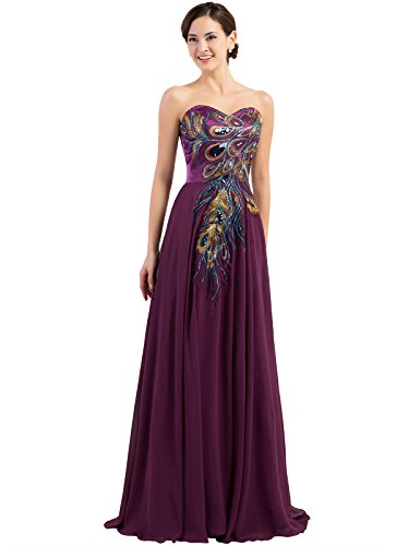Exquisite Embroidery Long Formal Prom Dresses Satin Size 6