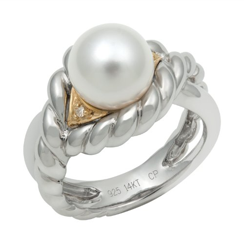 14K Yellow Gold and .925 Sterling Silver Freshwater Pearl and Diamond Ring TR-10064-AM
